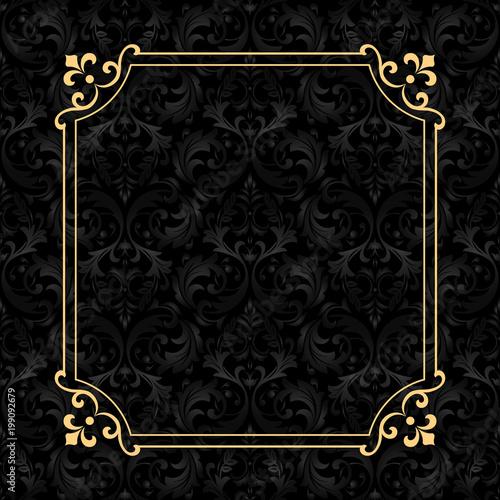 Fotografia Vintage gold frame on the black background. Damascus antique