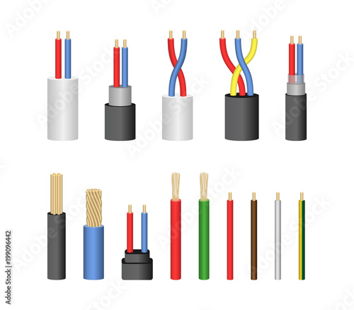 Photo Realistic Detailed 3d Electrical Cable Set. Vector