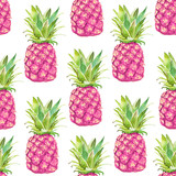 Seamless pattern with pink pineapple on a white background. Watercolor - 199098455
