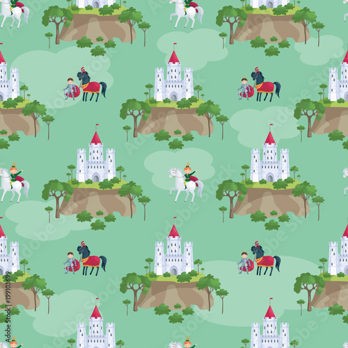 Poster Castle Colorful seamless pattern with a picture of a fairytale castle and Prince. Vector background.