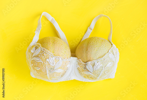 Breast enlargement concept, white bra with two melons on yellow background Canvas Print