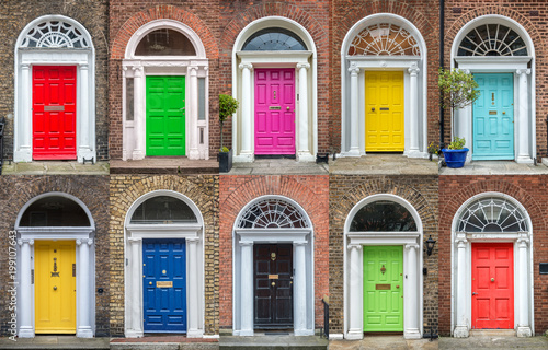 Canvas Print Colorful collection of doors in Dublin, Ireland