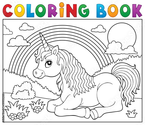 For Kids Coloring book lying unicorn theme 2