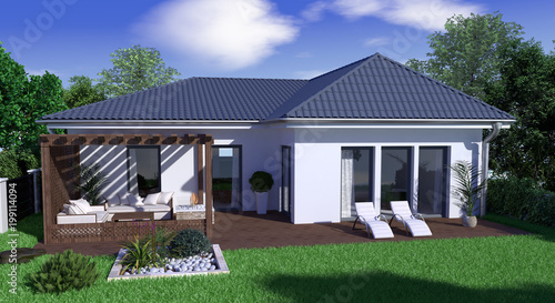 garten bungalow bungalow mit garten - buy this stock illustration and