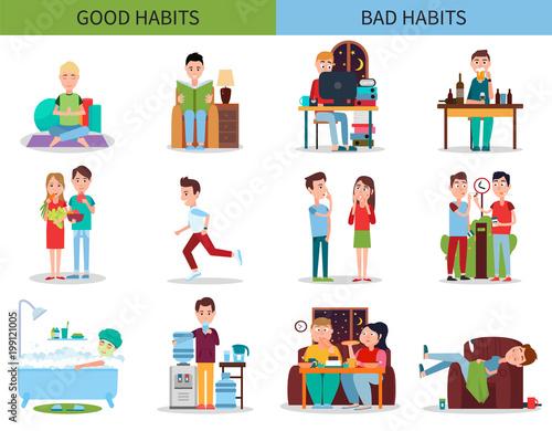 Vászonkép Good and Bad Habits Collection Vector Illustration