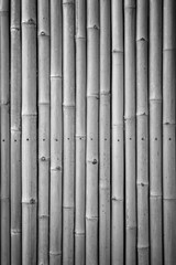Close-up of a natural bamboo wall background in black and white with vignette