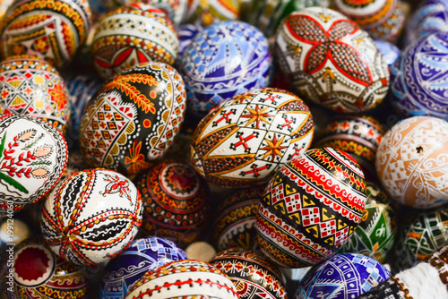 Stampa su Tela Traditional painted eggs for the orthodox Easter in the region of Bucovina, Roma