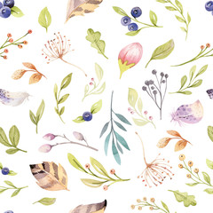 Panel Szklany Boho Watercolor floral bloom seamless pattern in pastel colors. Seamless background with bloossom flower and leaves, boho illustration. Design for invitation, wedding or greeting card