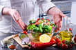 Preparation of a vegetable salad from fresh organic ingredients