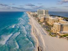 Cancun Beach Sunset Beach From Drone