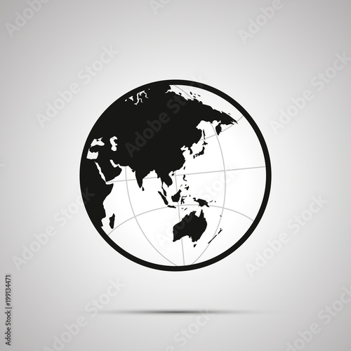 Asia and australia side of world map on globe simple black icon asia and australia side of world map on globe simple black icon gumiabroncs Image collections