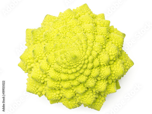 Fotografie, Obraz  Romanesco cauliflower or broccoli top view isolated on white background one green head