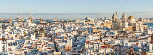 Cadiz panorama with famous Cathedral, Andalusia, Spain