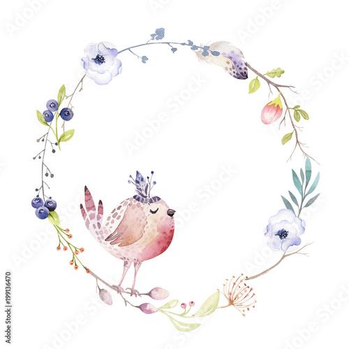 Photo  Watercolor boho floral wreath