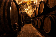 Wooden Barrels With Wine In A ...