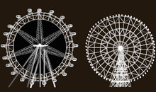 Two Ferris Wheels Isolated On ...