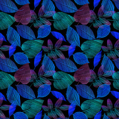A seamless pattern with hand draw green and blue leaves on black background