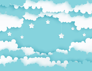 Fototapeta samoprzylepna Modern paper art clouds with stars. Cute cartoon sky with fluffy clouds in pastel colors. Cloudy weather. Origami style