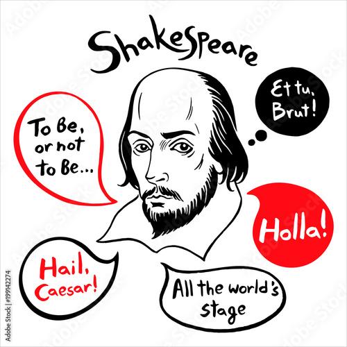 Fotografie, Obraz  Shakespeare portrait with speech bubbles and famous writer's citations