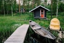 Traditional Wooden Hut. Finnis...