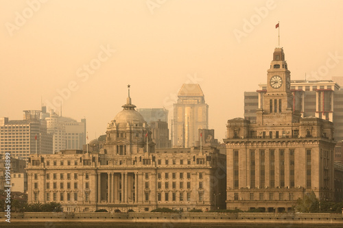 The Bund Skyline Across The Huangpu River From Pudong Shanghai