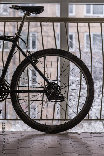 Fotobehang Fiets Bike standing in front of a window in a corridor