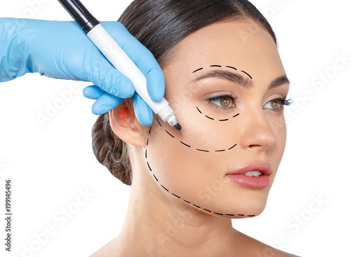 Fotomural woman with dotted lines on face, cosmetology