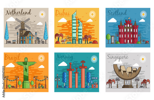 Poster de jardin Route Set of different cities for travel destinations. landmarks banner template of flyer, magazines, posters, book cover, banners. Layout workplace technology flat illustrations modern pages