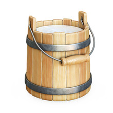 Wooden Bucket With Milk Isolated On White Background 3d Rendering