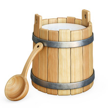 Wooden Bucket With Milk Isolat...