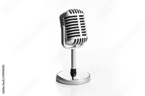 Stampa su Tela Retro microphone isolated on white background