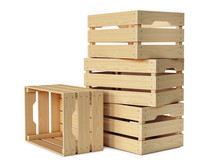 Wooden Crates Stack Isolated O...