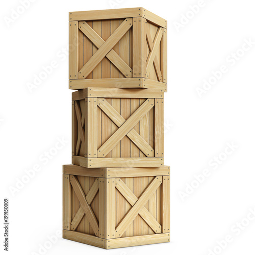 Stack of wooden crates, cargo boxes isolated on white background  3d rendering © koya979