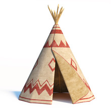 North America's Indian Tent, Tepee Isolated On White Background, 3d Rendering