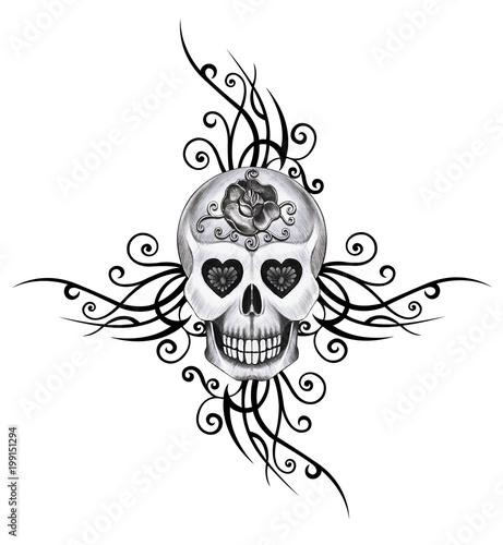 Printed kitchen splashbacks Art Skull Tattoo. Hand pencil drawing on paper.