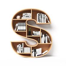 Bookshelves 3d Font. Alphabet In The Form Of Book Shelves. Mockup Font.  Letter S 3d Rendering