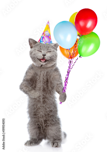 Happy Cat In Birthday Hat With Bunch Of Balloons Standing On Hind Legs Isolated