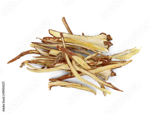 Liquorice, Licorice, (Glycyrrhiza glabra) isolate on white background