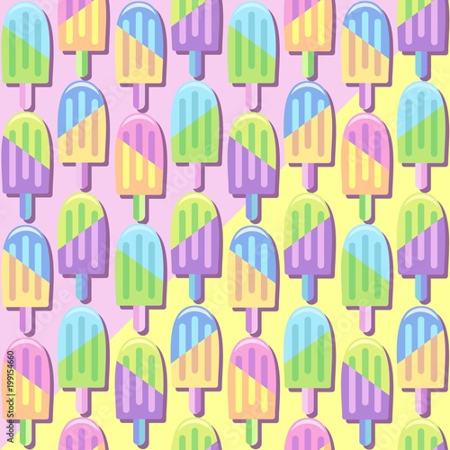 Deurstickers Draw Ice Lollipops Popsicles Summer Punchy Pastels Colors Pattern