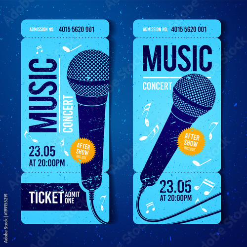 vector illustration blue music concert ticket design template with