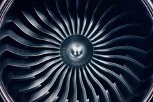 3D Rendering Jet Engine, Close-up View Jet Engine Blades. Blue Tint.