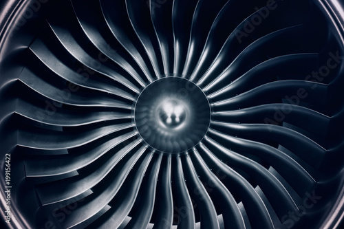 Leinwand Poster 3D Rendering jet engine, close-up view jet engine blades