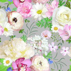 Panel Szklany Podświetlane Peonie Seamless pattern with light flowers