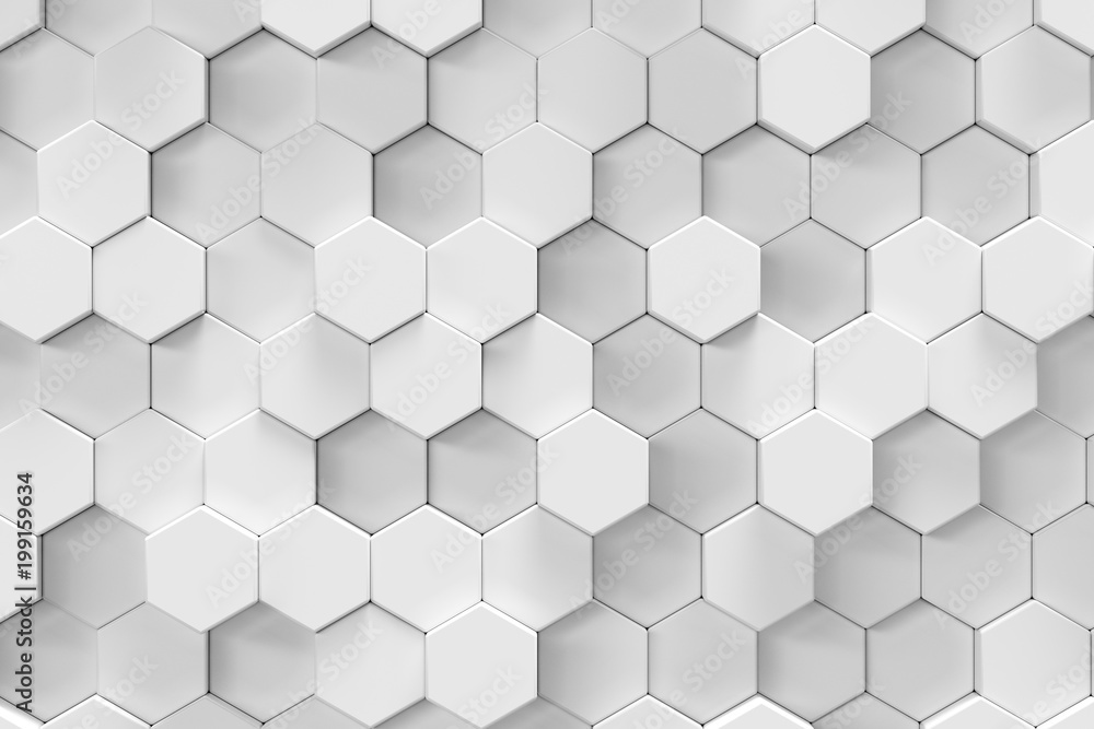 White geometric hexagonal abstract background, 3d rendering