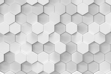 White Geometric Hexagonal Abst...