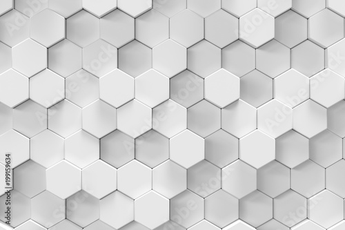 White geometric hexagonal abstract background, 3d rendering - 199159634