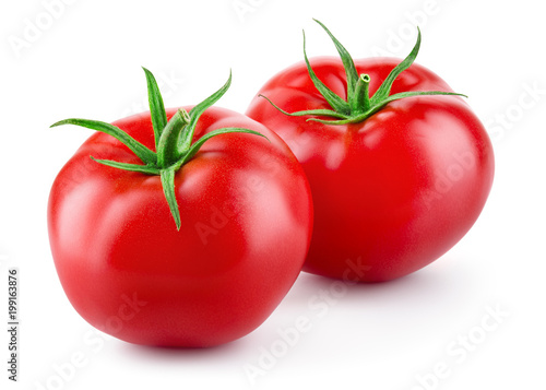 Tomatoes isolated on white background. Two fresh raw vegetables. Full depth of field.