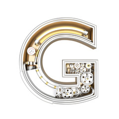 Mechanic alphabet ,letter G on white background with clipping path. 3D illustration