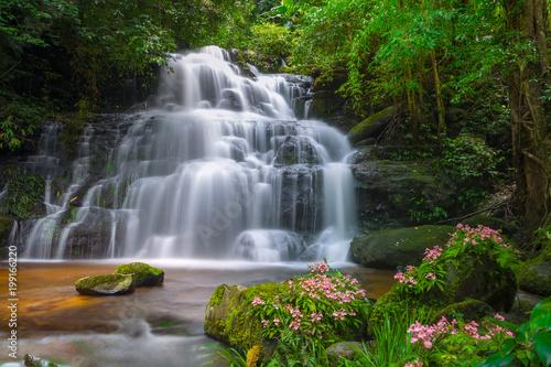 Recess Fitting Waterfalls Mun daeng Waterfall, the beautiful waterfall in deep forest at Phu Hin Rong Kla National Park ,Phitsanulok, Thailand