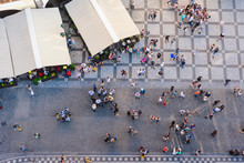 PRAGUE, CZECH REPUBLIC - MAY 2017: Aerial View Of People Visiting The Old Town Square From On Top Old Town Hall Tower In Prague, Czech Republic